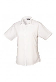 PR302 Ladies Fit  Short Sleeve Poplin Blouse (Size 8 To Size 24) 16 Colours