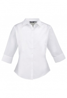 PR305 Ladies Fit 3/4 Sleeve Poplin Blouse  (Size 8 To Size 24)  6 COLOURS