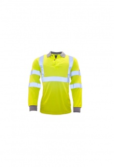 FR77 Flame-Resistant Anti-Static Hi-Vis Long Sleeved Polo Shirt (Small to 3XLarge)