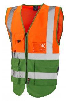 W11-O/GN Lynton Orange Green Two Tone Hi Vis Vests (Small To 6XL)