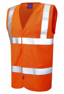 W19-O Flame Retardent Anti Static Orange Hi Vis Vests (Small To 6XL)