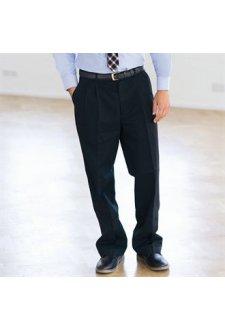HB600 Teflon Coated Pleated Chino Trousers Black
