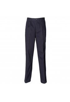 HB600 Teflon Coated Pleated Chino Trousers Navy