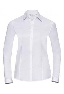 J962F Women's long sleeve herringbone shirt (Xsmall to 3Xlarge)  2 COLOURS