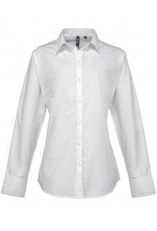 PR307 Ladies Fit  Supreme Long Sleeve Poplin Blouse  (Size 8 To 24)  3 COLOURS