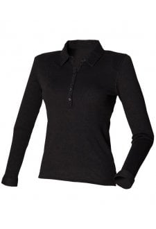 SK044 Womens Long Sleeved Stretched Polo (Small to XLarge) 2 COLOURS