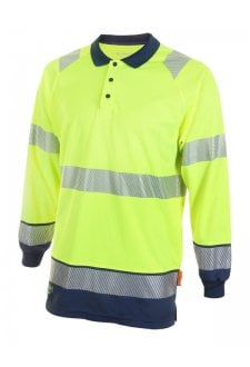 HVTT015 Hi Vis Two Tone Long Sleeved Polo (Small to 4XLarge) 2 COLOURS