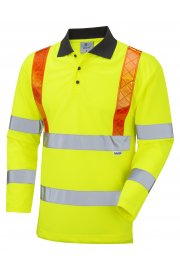 P07-Y Bickleton Class 3 Orange Brace Coolviz Sleeved Polo (Small To 6XL)