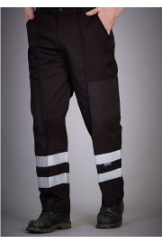 YK074BL Reflective Polycotton Ballistic Trousers Black